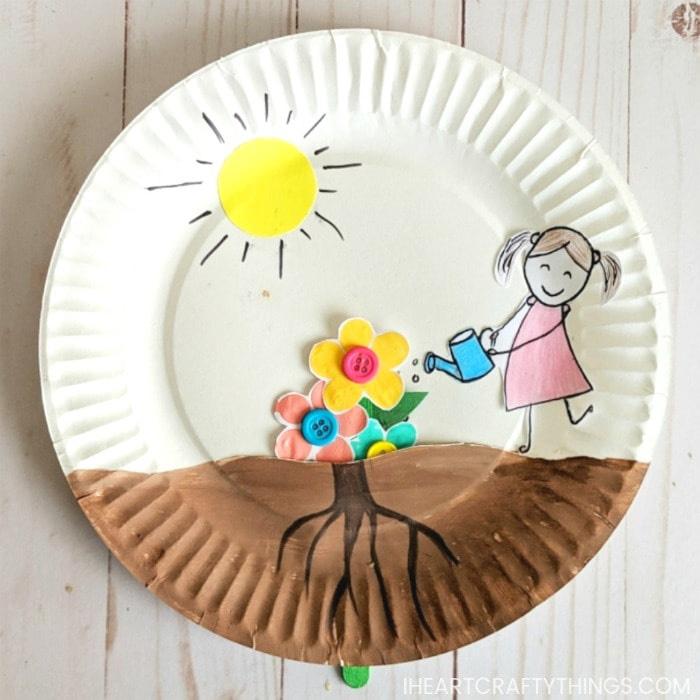 paper plate flower garden craft
