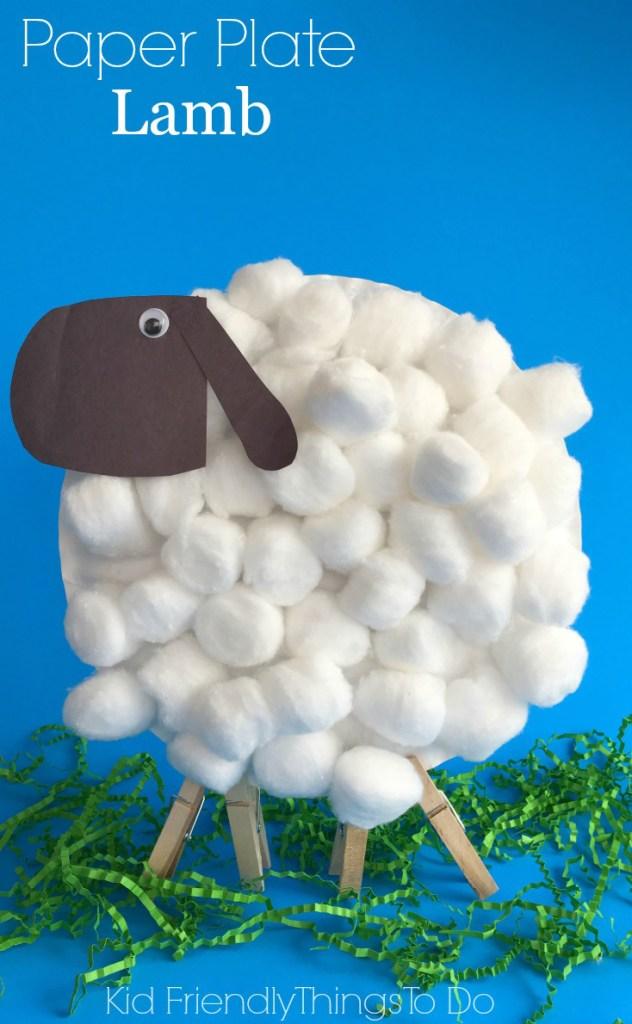 kids craft paper plate lamb
