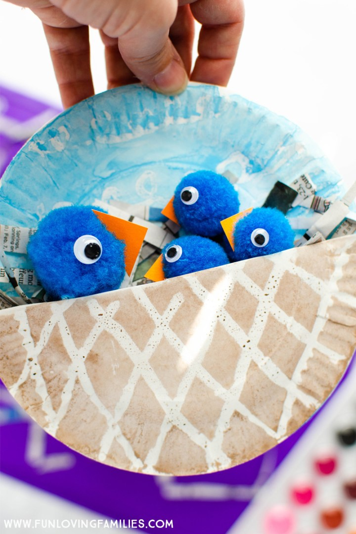 pom pom blue birds in paper plate painted nest