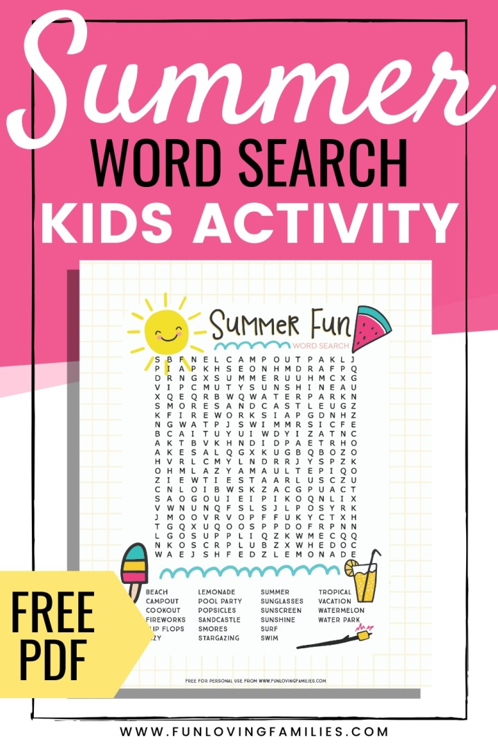 summer word search printable for kids