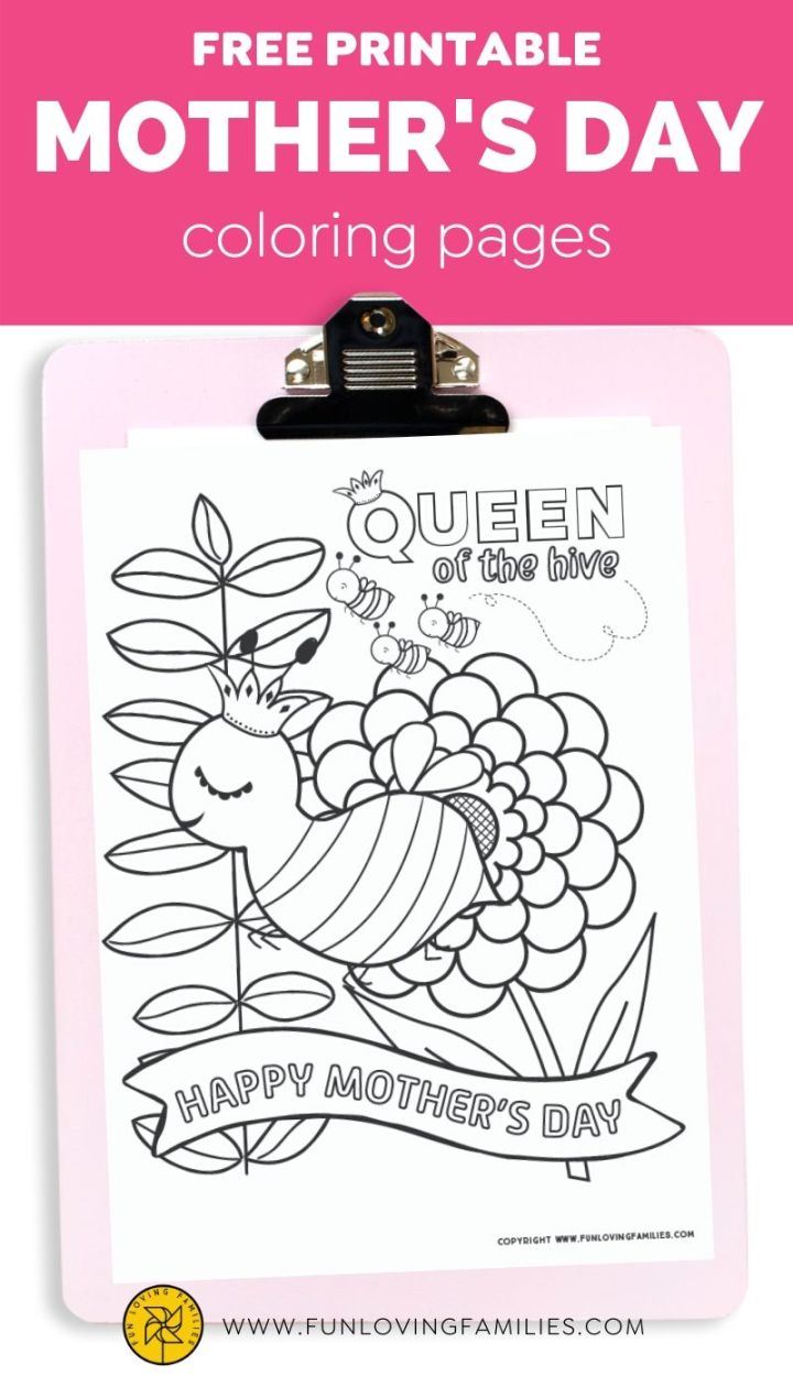 Happy Mothers Day coloring page with queen bee illustration