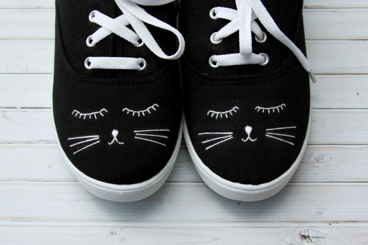 embroidered shoes with cat face