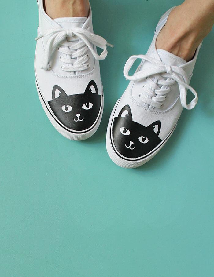 vinyl transfer shoe with cat design