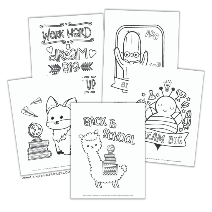 set of back to school coloring pages for kids with different pictures