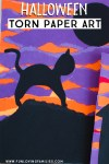 halloween torn paper scene with purple and orange background and black cat