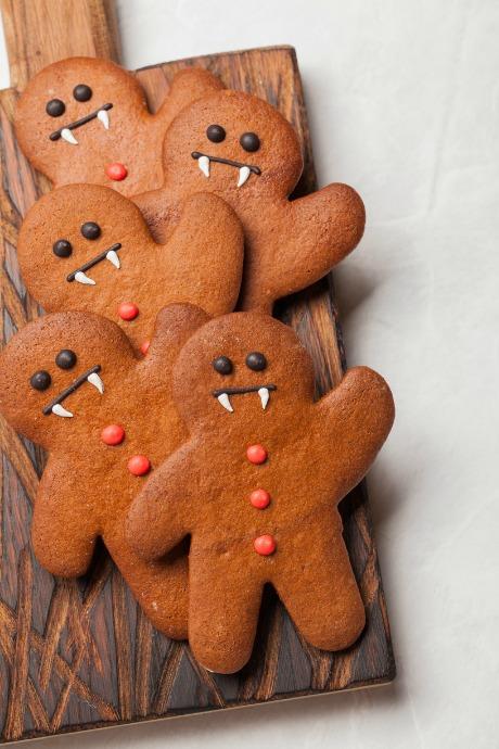 tray of gingerbread men vampire cookies