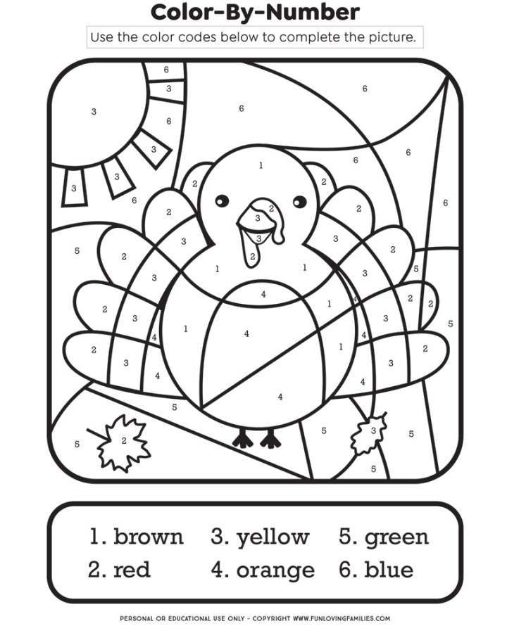 Thanksgiving color-by-number printable activity sheet with turkey image