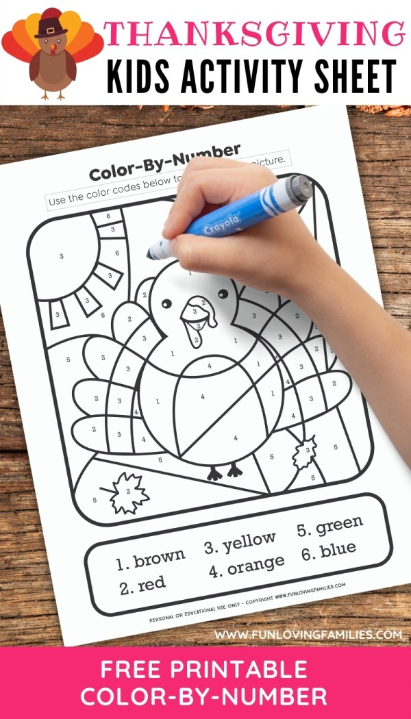 child drawing on Thanksgiving color by number coloring page