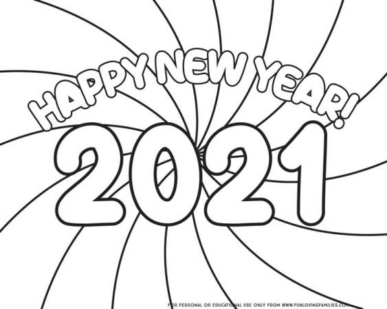 simple New Year coloring sheet for kids