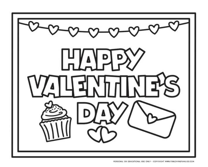 """""""Happy Valentine's Day"""" coloring page with hearts"""
