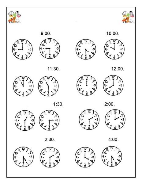preschool animals clock activities « Preschool and Homeschool