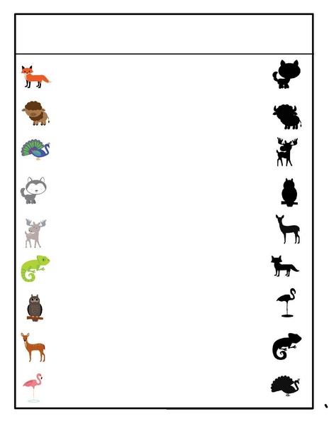 preschool animals shadow matching « Preschool and Homeschool