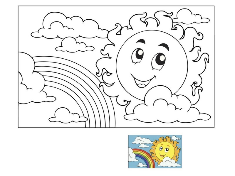 spring coloring page sun and rainbow « Preschool and