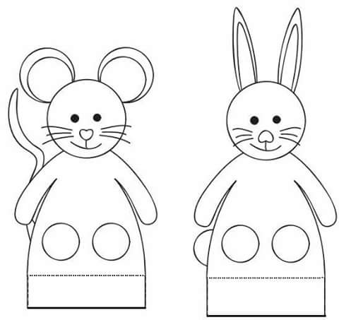 finger puppet worksheets rabbit and mause « Preschool and
