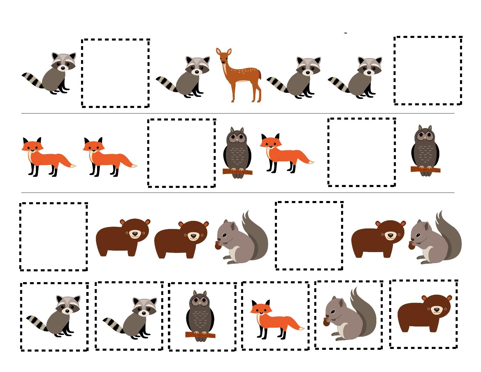 Forest Animals Pattern Exercise Preschool And Homeschool