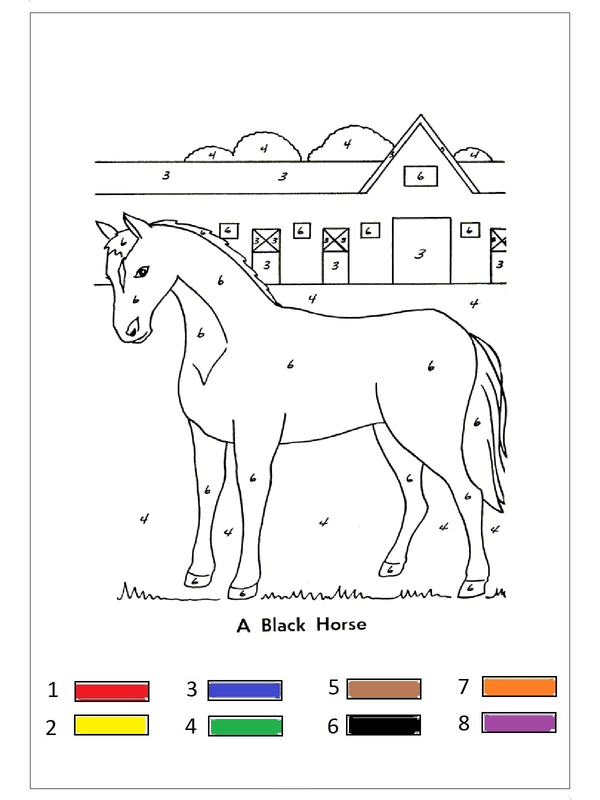 Farm Animal Color By Number 1 Preschool And Homeschool