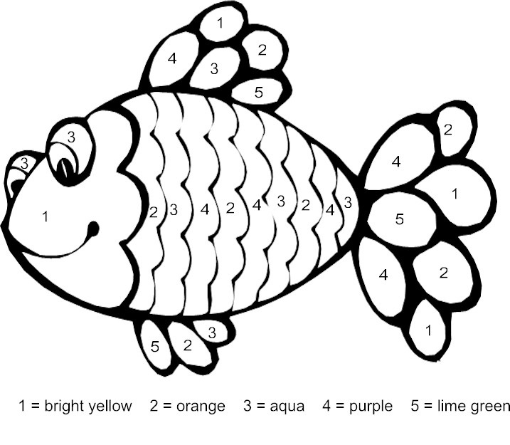 fish color by number coloring pages (10) « Preschool and