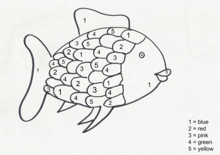 Fun Color By Number Rainbow Fish Coloring Page For
