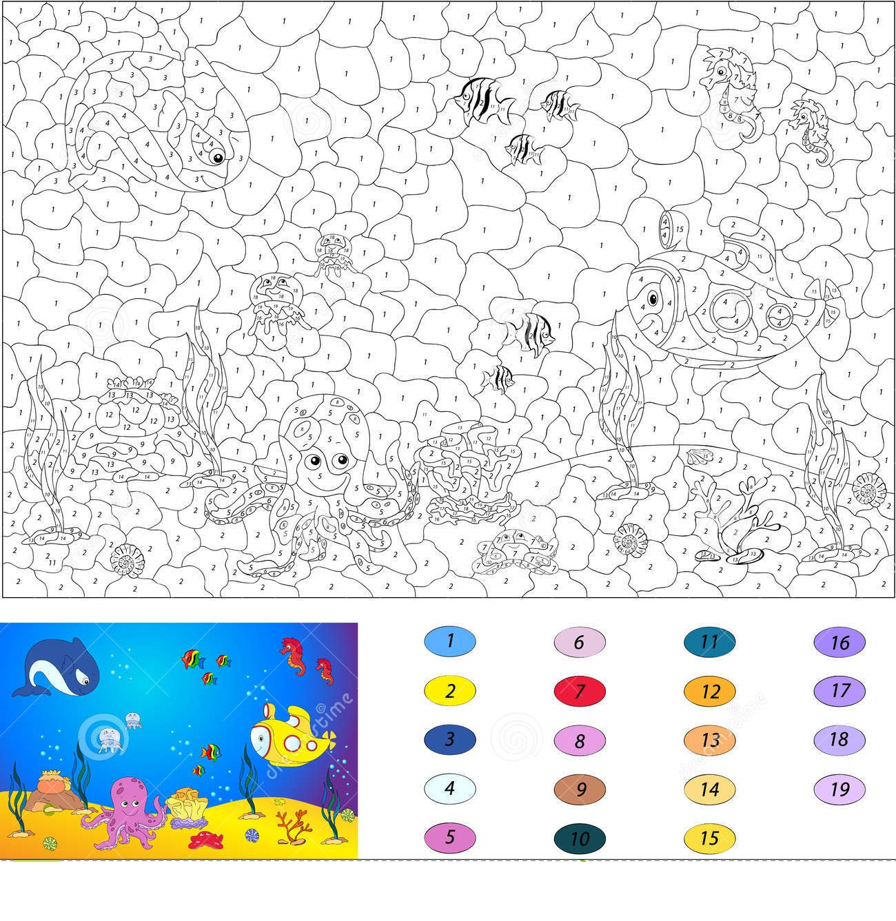 Fish Color By Number Coloring Pages 6 Preschool And