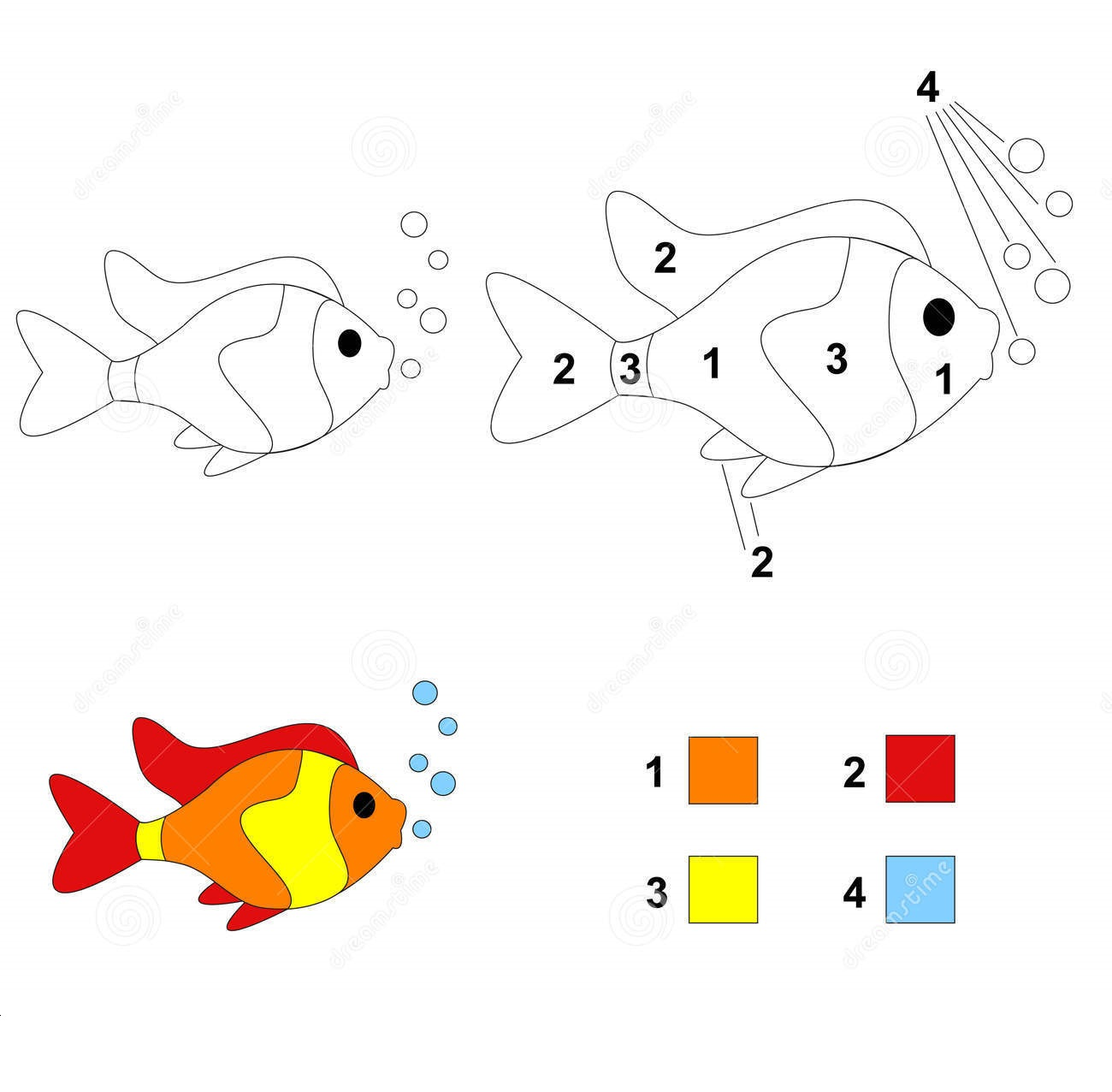 Fish Color By Number Coloring Pages 8 Preschool And