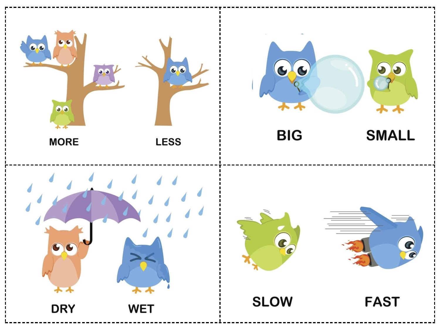 Owl Theme Opposites Cards 3 Preschool And Homeschool