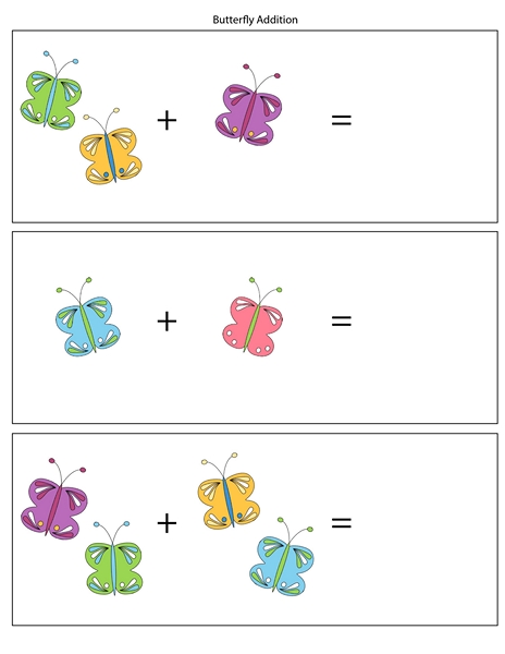 Butterfly Addition Worksheets Preschool And Homeschool