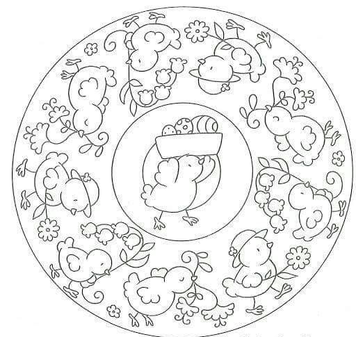 chick mandala coloring « Preschool and Homeschool