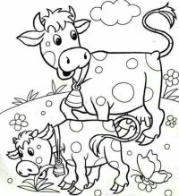 Cow and Chicken color page - Coloring pages for kids | 219x200