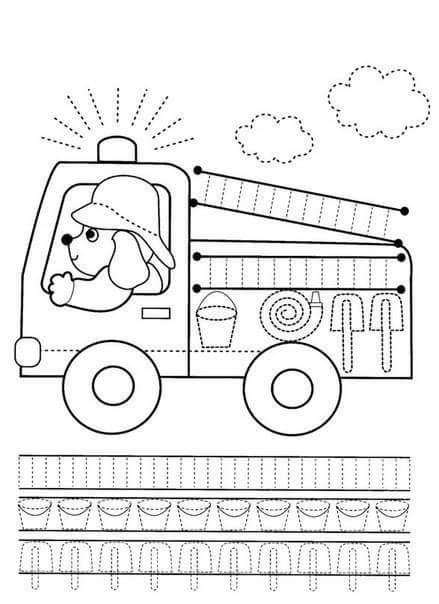 firetruck pre writing sheet « funnycrafts