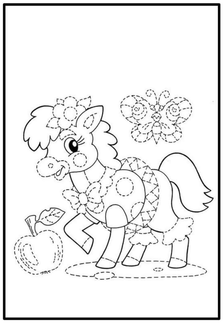 sweet horse trace and color sheet « Preschool and Homeschool