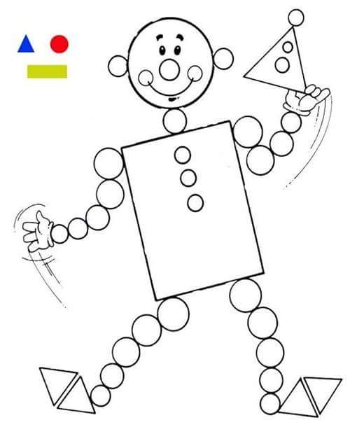 clown shapes coloring page (1) « Preschool and Homeschool