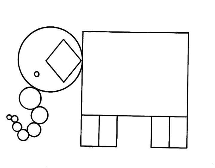 elephant shapes coloring page « Preschool and Homeschool