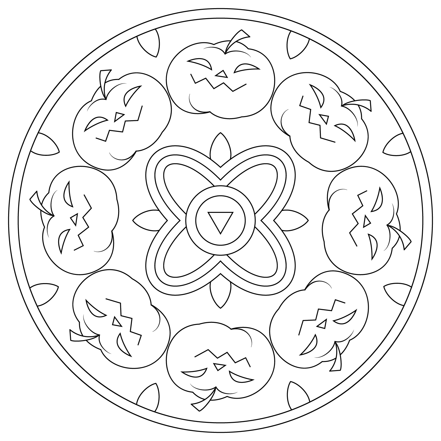 Free Printable Halloween Mandala Coloring Pages 1