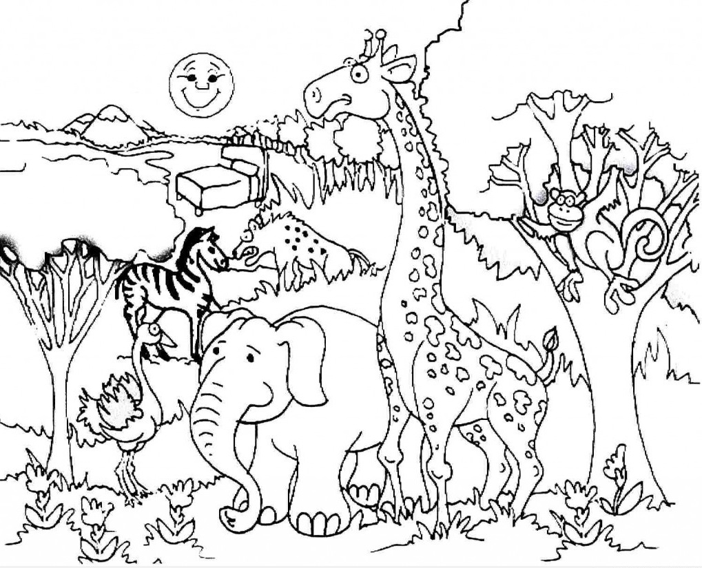 giraffe-and-forest-animals-coloring « Preschool and Homeschool
