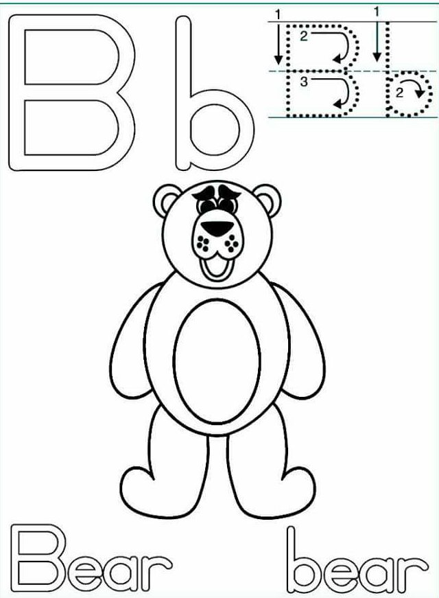 letter-b-bear-handwriting-worksheets « Preschool and