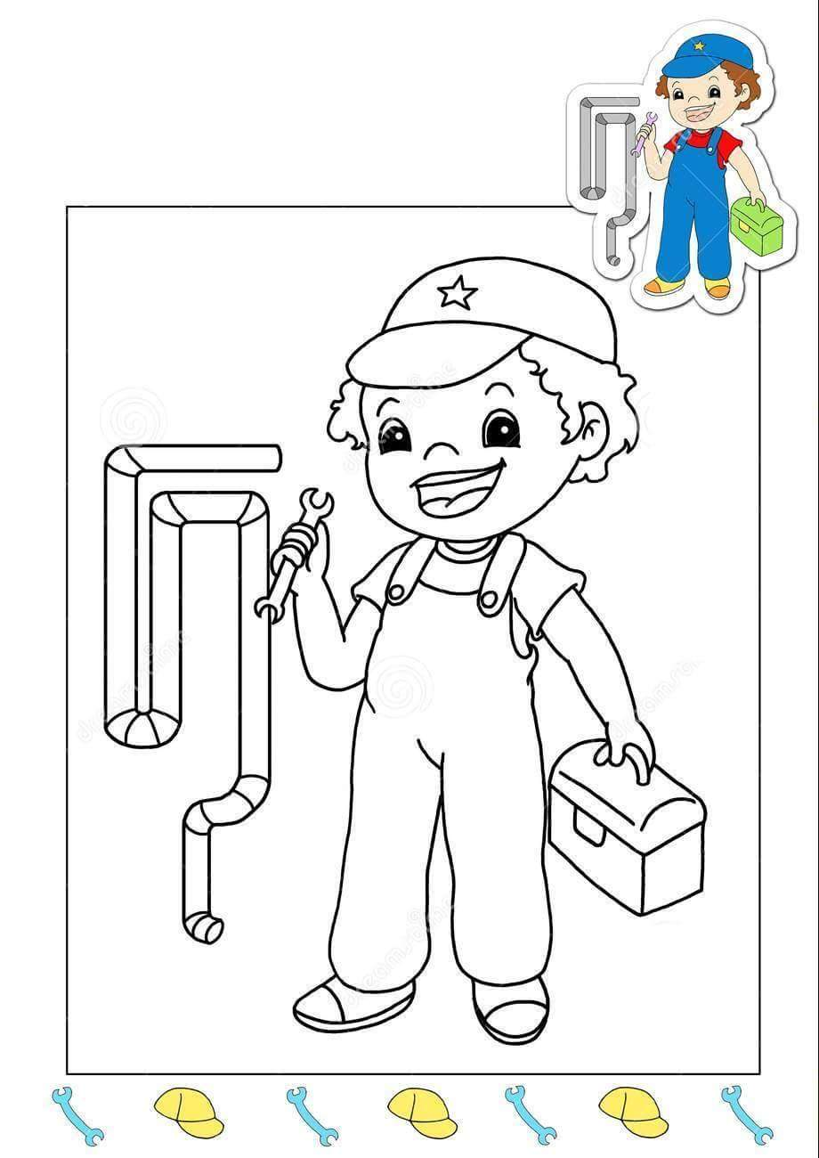 plumber-coloring-page « Preschool and Homeschool