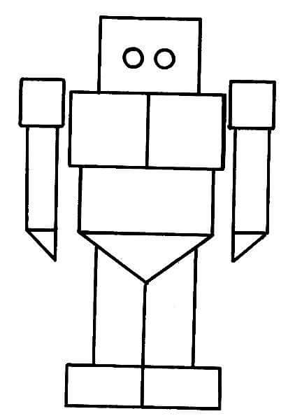 robot shapes coloring page (2) « Preschool and Homeschool