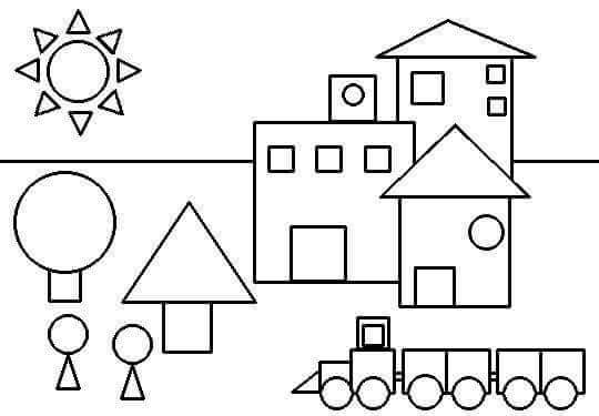 shapes coloring page « Preschool and Homeschool
