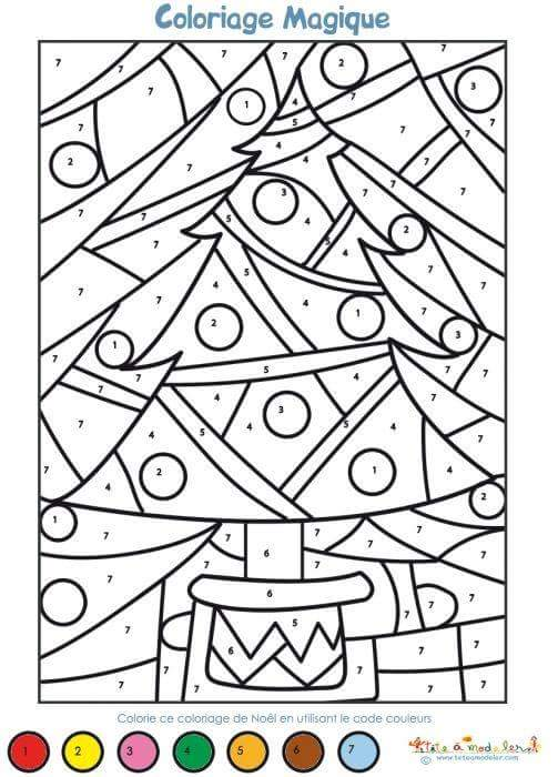 christmas tree color by number sheets for kids « Preschool