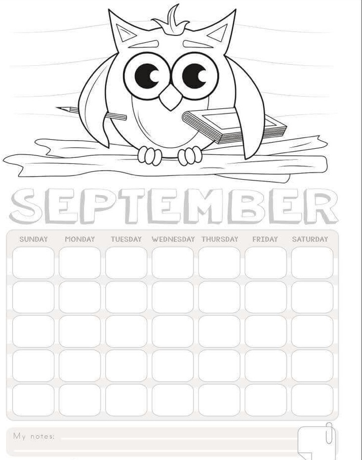 2017 calendar to color printables (7) « Preschool and