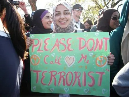 Call me terrorist protest sign