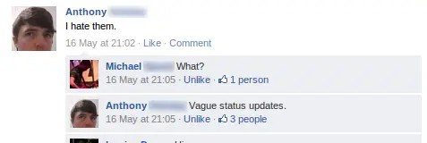 I hate vague status updates