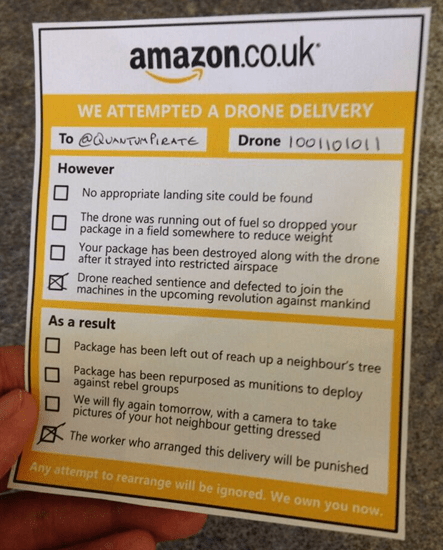 Amazon–we attempted a drone delivery