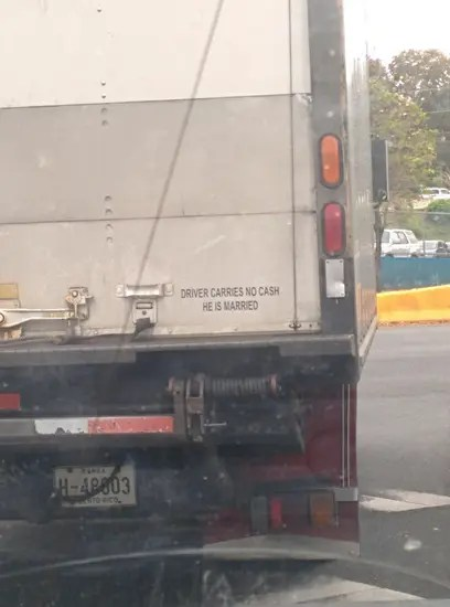 Drive carries no cash - he is married