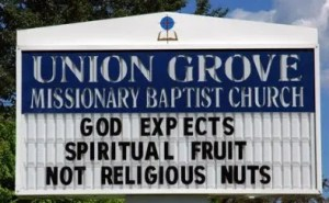 God expects spiritual fruit, not religious nuts