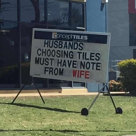 Husbands choosing tiles must have note from wife