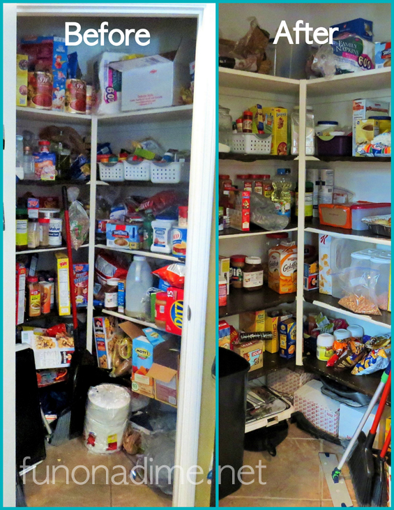 Easy Pantry reorganizing before and after