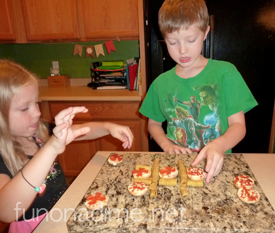 After school snack fun - Tic Tac Toe with Bagel Bites and Delimex