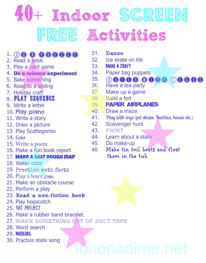40+ screen free indoor activities