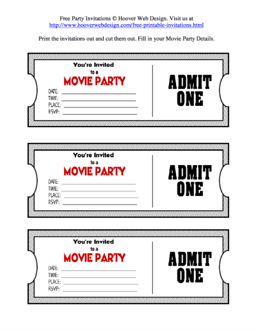 Movie Ticket Invites Free Printable